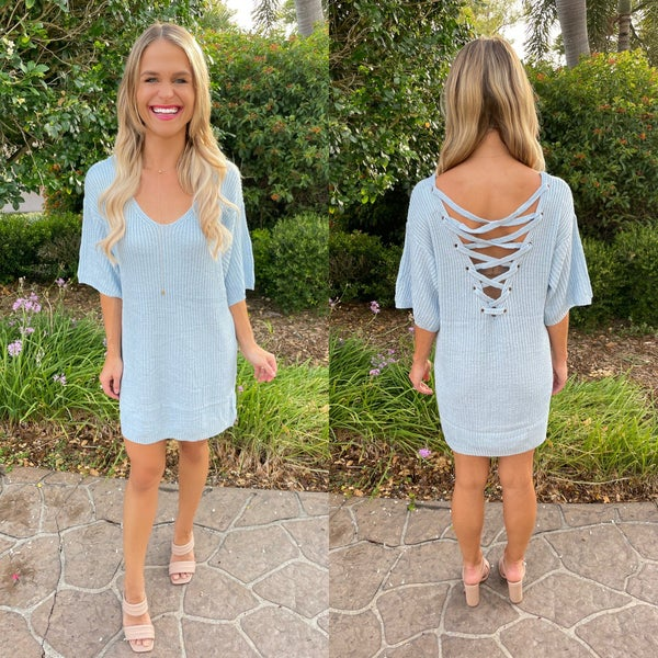 Sky Blue Back Lace Up Pullover Spring Sweater Dress