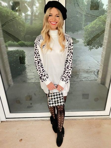 Chic High Neck Leopard Print Tunic Mini Dress