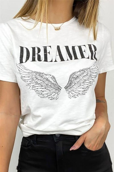 White Dreamer Angel Wings Graphic Tee