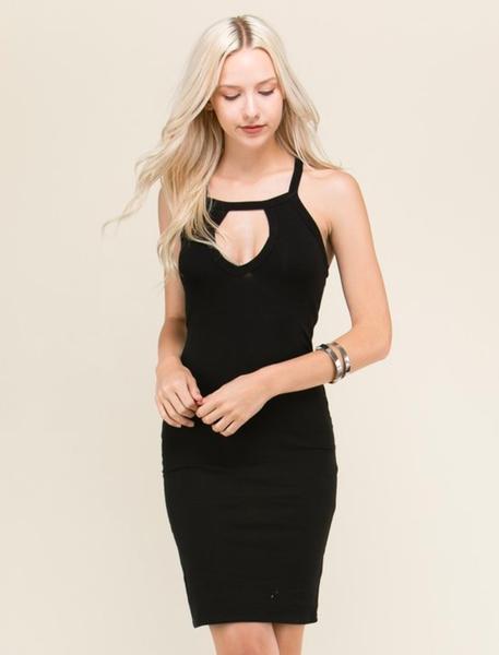 Sexy Black Strappy Cutout Dress