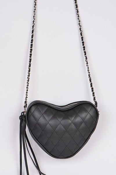 Black Quilted Heart Crossbody Bag