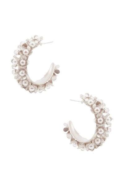 Boho Silver Pearl Floral Hoop Earrings