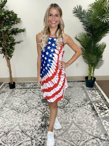 American Flag Stars Stripes Tie-Dye Mini Dress | Adjustable Straps