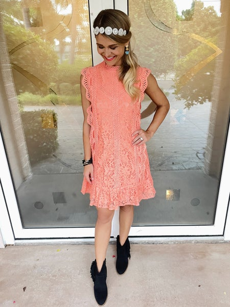 Coral Connection Sleeveless Lace Mini Dress