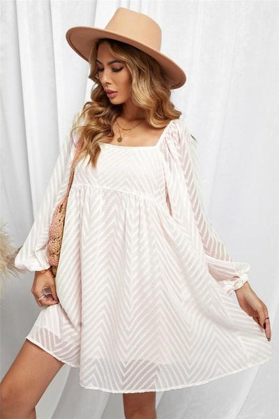 Classic Lily White Modern Cut Whimsical Flow Dress