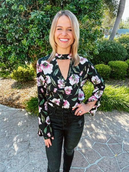 Black Boho Floral Cutout Split Sleeve Bodysuit