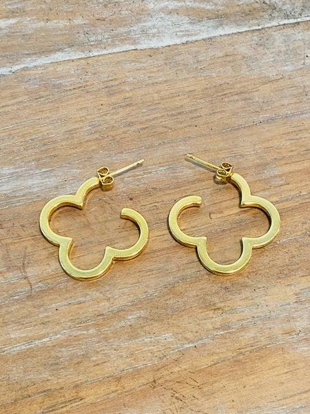 14K Gold Open Clover Quatrefoil Shape Earrings