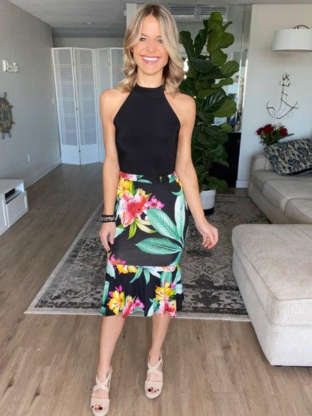 Black Floral Contrast Halter Cut Dress