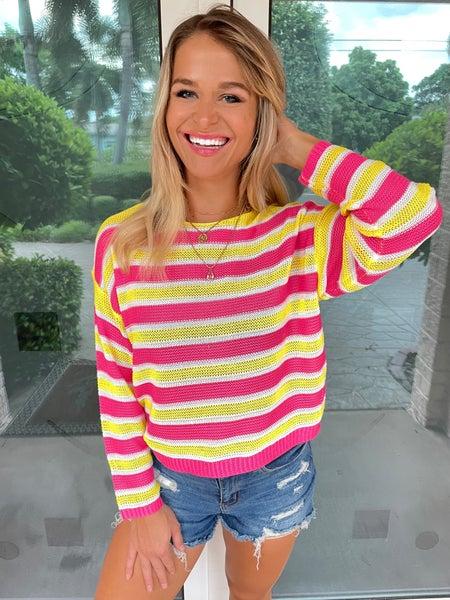Strawberry Lemonade Lumiere Knit Sweater Top