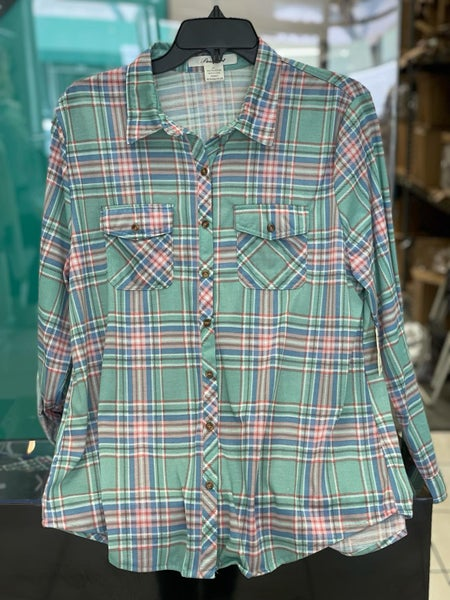 Green & Pink Light Plaid Stretchy Button Up Top