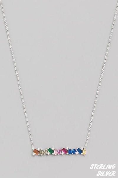 Sterling Silver Crystal Baguette Bar Pendant Necklace
