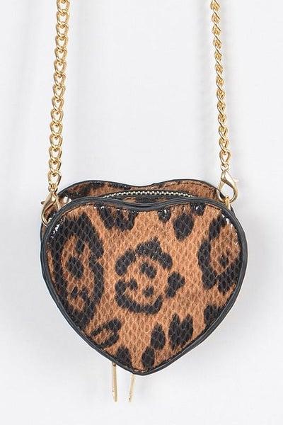 Leopard Heart Mini Crossbody Bag