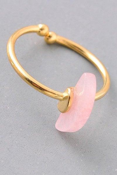 *SALE* Rose Crescent Gemstone Adjustable Ring