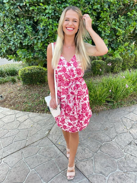 Dream in Pink Floral Belted Dress | Adjustable Straps