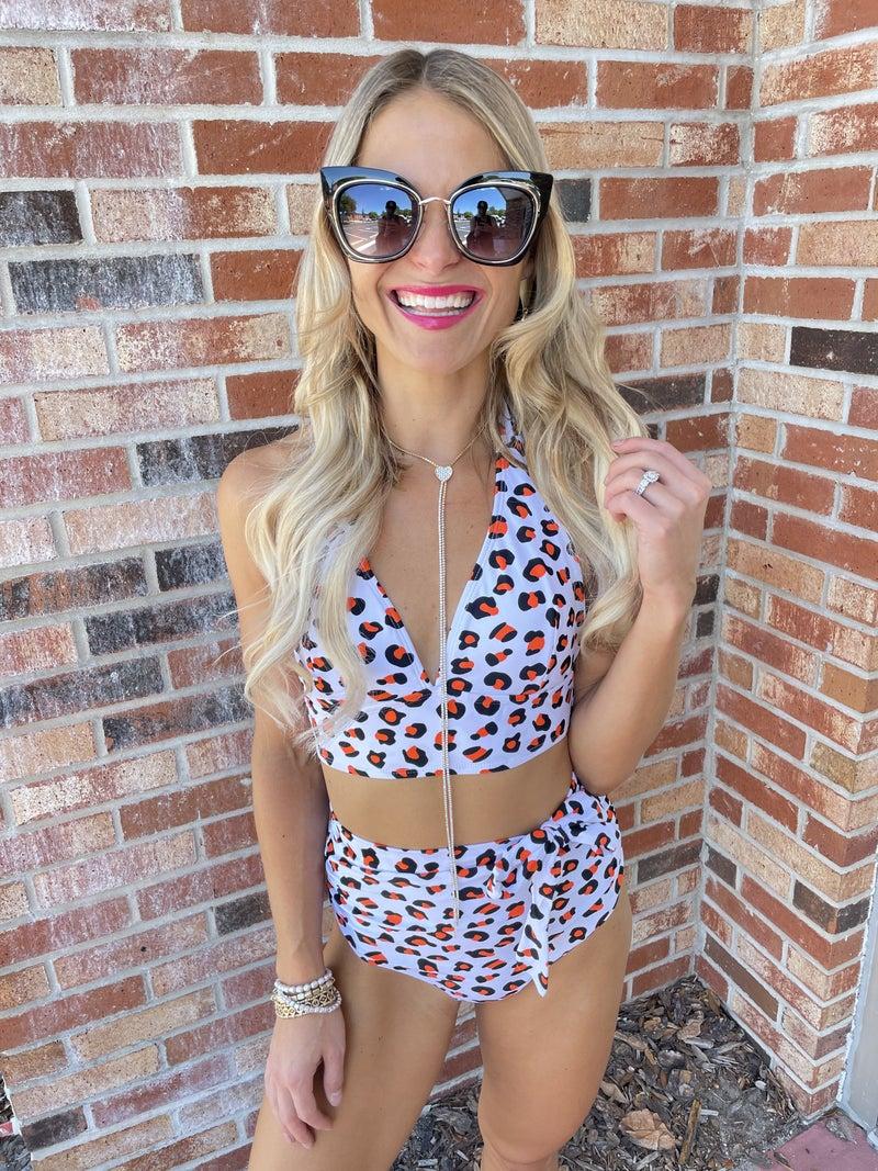 Halter V Neck Leopard High Waist Bikini Swimsuit Set