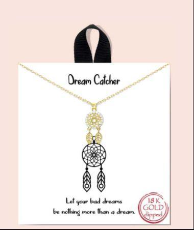 18 Karat Gold CZ Dream Catcher Pendant Necklace