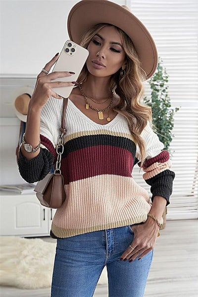 Fall Hues Colorblock Knitted Fall Sweater