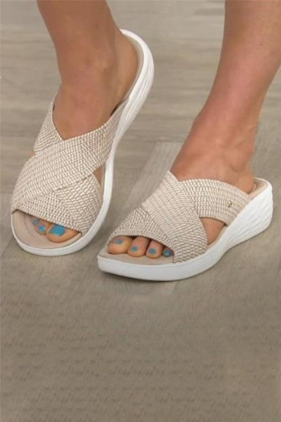Nude Round Toe Woven Cross Wedge Slip On Sandals