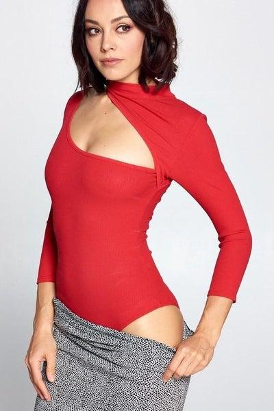 Red Asymmetrical Cutout Long Sleeve Bodysuit