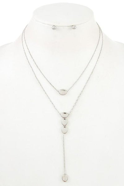 Silver Double Layered Pendant Necklace & Earring Set