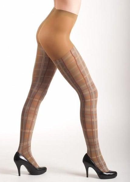 Taupe Plaid Fashion Tights
