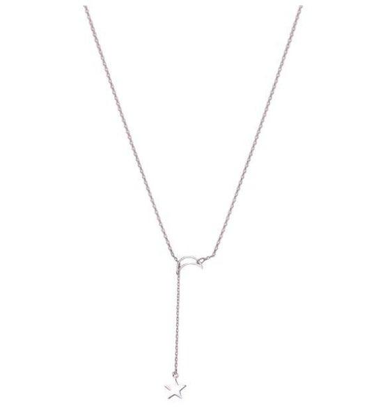 24 Karat White Gold Moon & Star Lariat Adjustable Pendant Necklace