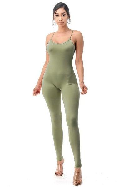 Sage Compression Stretchy Sleek Jumpsuit