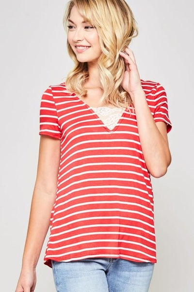 Lace Trimmed V-Neck Striped Top - Red