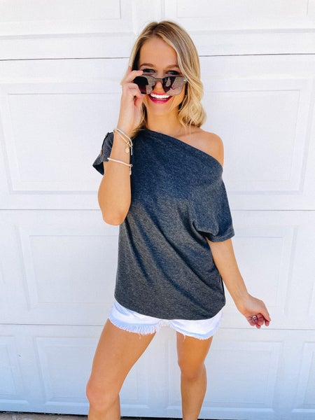Charcoal Off the Shoulder Button Sleeve Detail Top