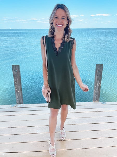Dark Green Eyelash Lace Trim Sleeveless Shift Dress