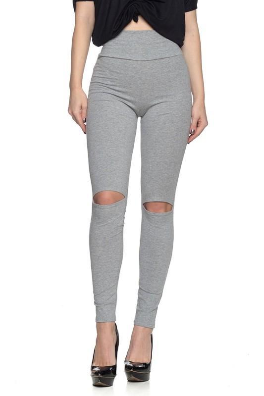 Grey High Waist Knee Distress Leggings