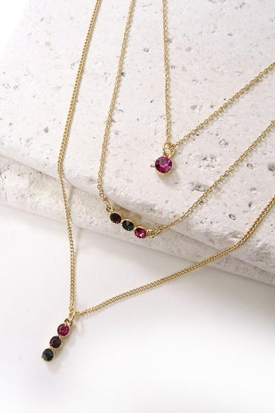 Multi Stone Triple Layered Dainty Necklace