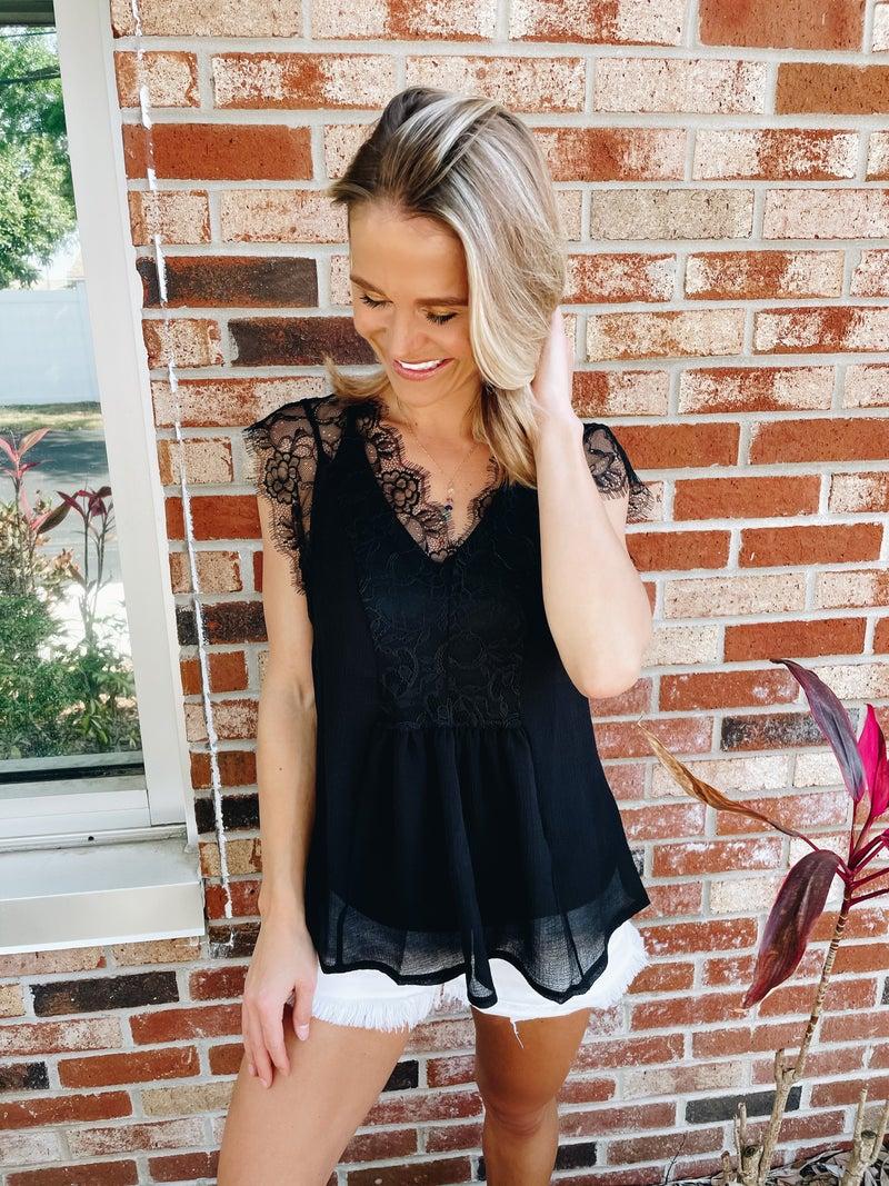 2-Piece Black Lace Blouse + Adjustable Strap Cami