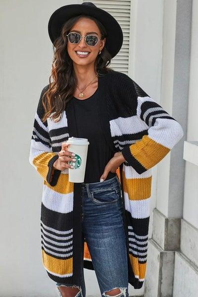 Autumn Yellow & Black Pocketed Novelty Chenille Cardigan