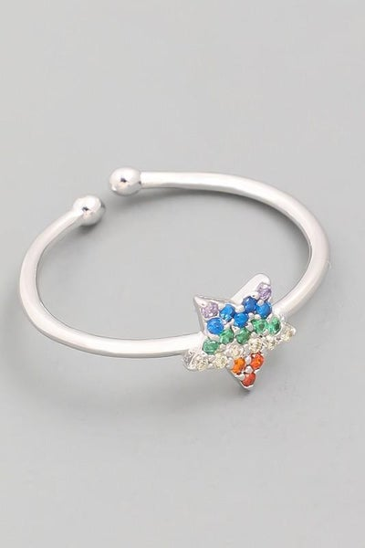 Silver Dainty Star Studded Adjustable Ring
