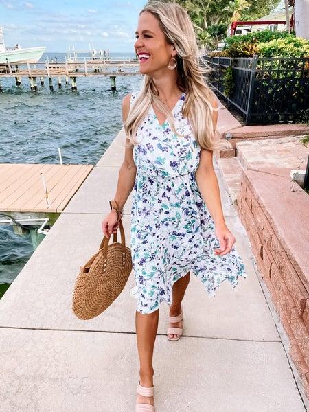 Ivory Floral Hi-Lo Hem Midi Dress