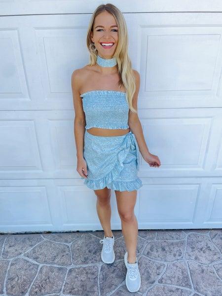 Sky Blue Floral Smocked Strapless Top and Skirt Set