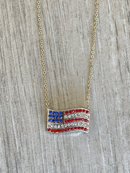Gold Pave USA Flag Pendant Necklace