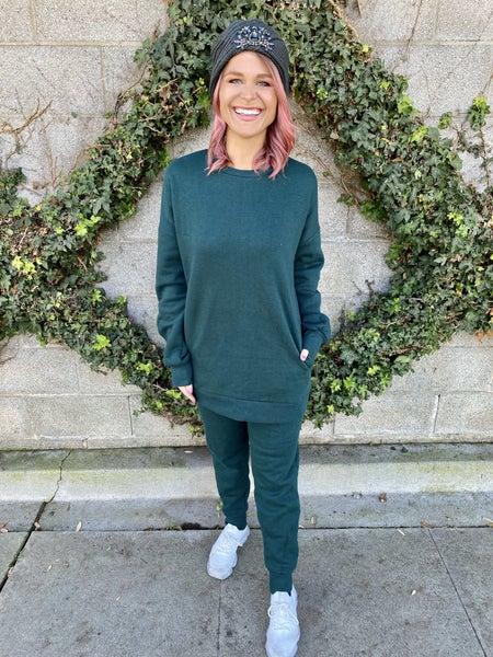 Hunter Green Pocket Sweatshirt & Sweatpants Set