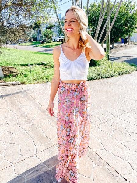 Pink Spring Floral Smocked Waist Maxi Skirt