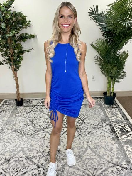Royal Blue Sleeveless Adjustable Length Side Ruching Dress