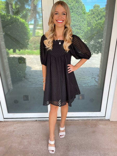 Refined Black Square Neck Textured Mini Dress
