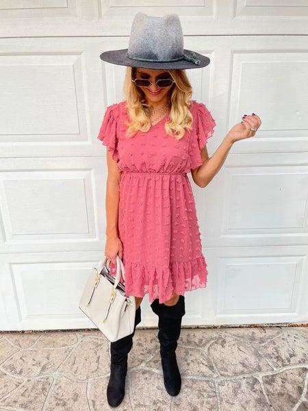 Rosé Swiss Dot Flutter Sleeve Tie Back Dress