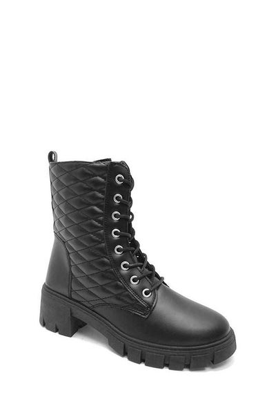 Black Quilted Design Lace-Up Combat Boots