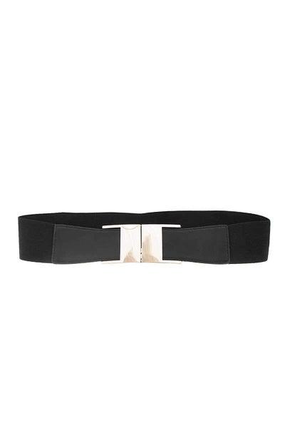 Black Stylish Gold Accent Stretchy Waist Belt
