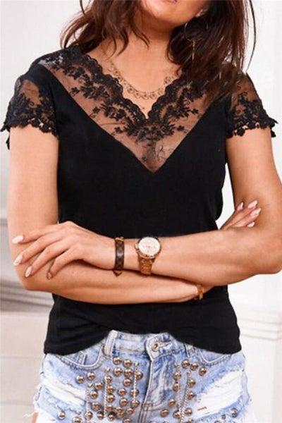 Black Bohemian Lace Detail Top