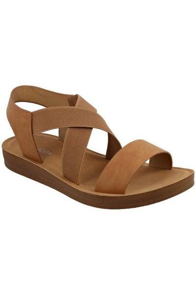 Tan Slip-On Stretch Strappy Comfort Sandals
