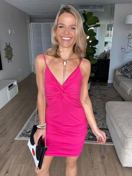 Pink Twist Front Side Ruching Dress | Adjustable Straps
