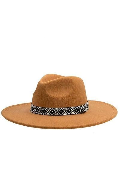 Camel Boho Pattern Band Adjustable Panama Hat