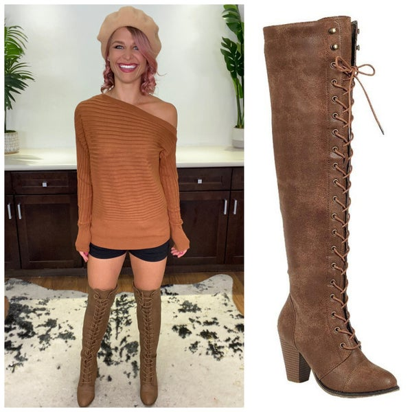 Tan Lace-Up Over The Knee Boots